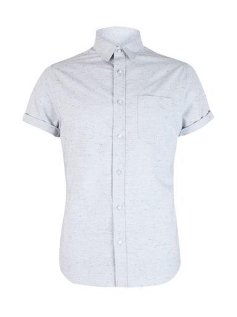Mens Grey Short Sleeve Nepp Shirt, Grey