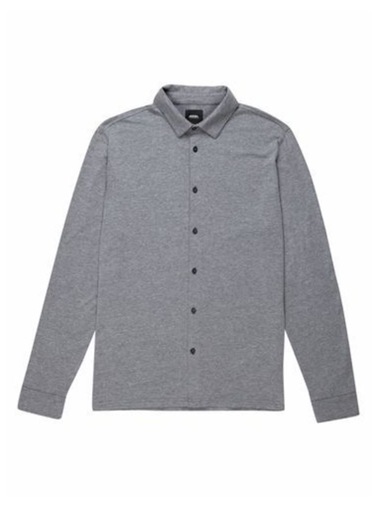 Mens Charcoal Button Through Stretch Jersey Shirt, CHARCOAL
