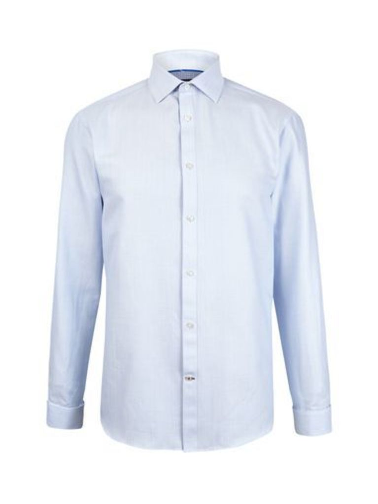 Mens Blue Zig-Zag Woven Tailored Fit Shirt, White