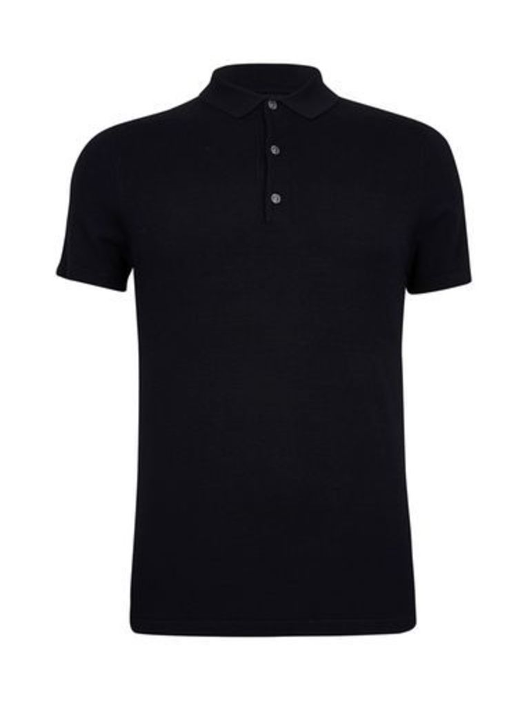 Mens Black Textured Knitted Polo Shirt, Black