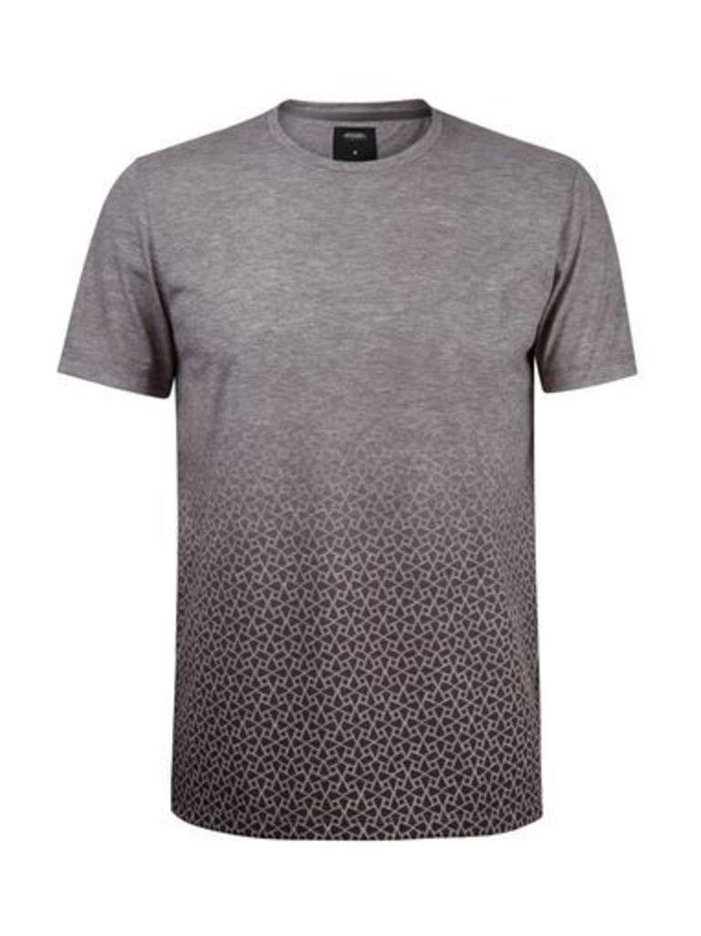 Mens Grey Geometric Print Faded T-Shirt, Black