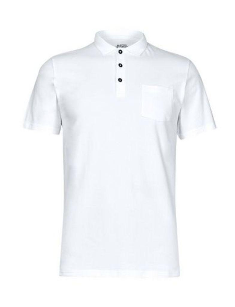 Mens White Stretch Polo Shirt, White