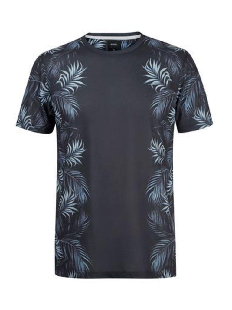 Mens Black Floral Side Print T-Shirt, Black