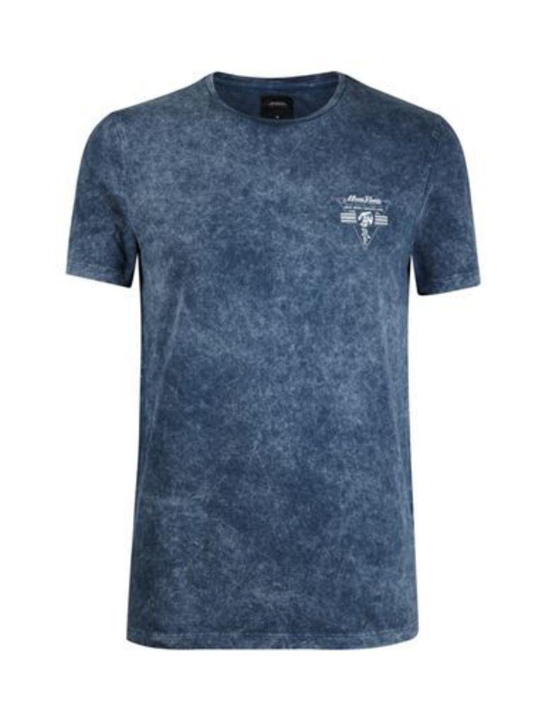 Mens Blue Acid Wash Chest Print T-Shirt, Blue
