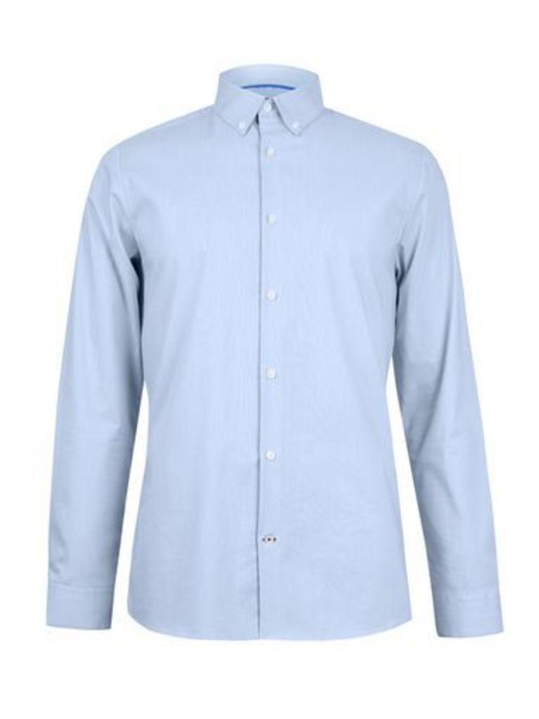 Mens Blue Skinny Fit Textured Stretch Shirt, Blue