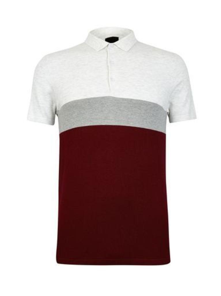 Mens Burgundy Colour Block Knitted Polo Shirt, BURGUNDY