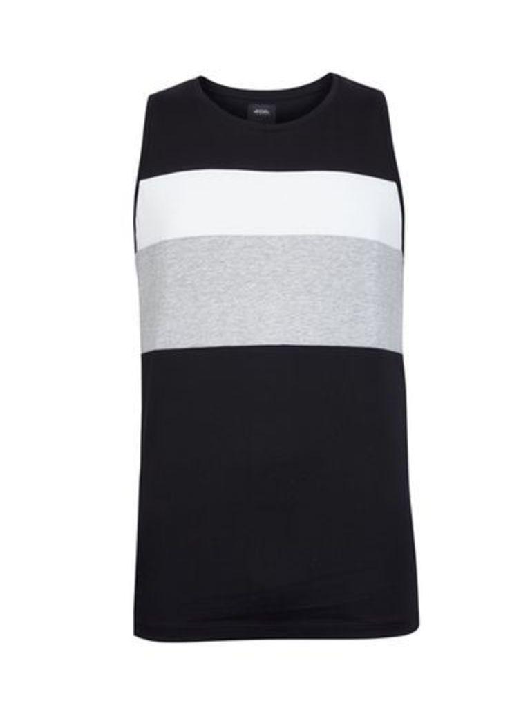 Mens Black Cut And Sew Vest, White