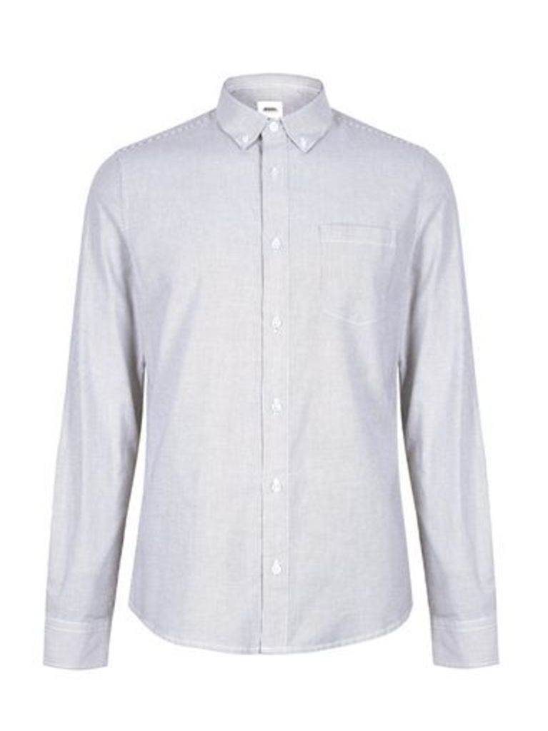 Mens Navy Blue Fine Stripe Long Sleeve Oxford Shirt, Blue