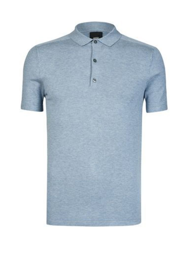 Mens Blue Knitted Polo Shirt, Blue