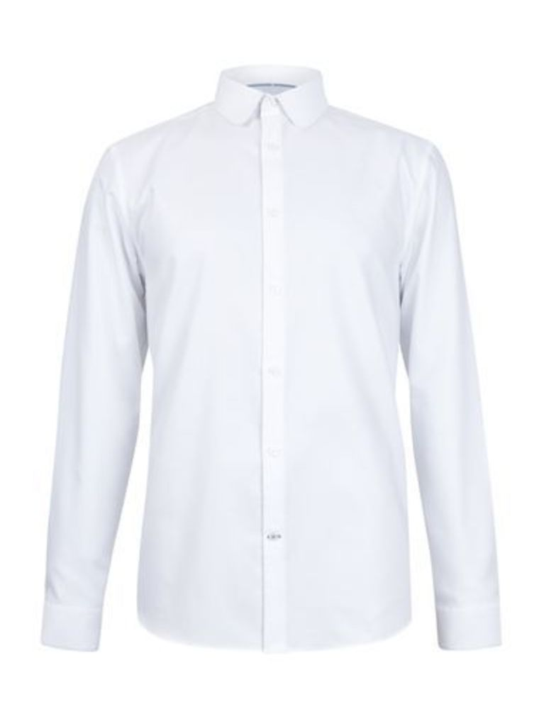 Mens White Slim Fit Rounded Collar Oxford Shirt, White