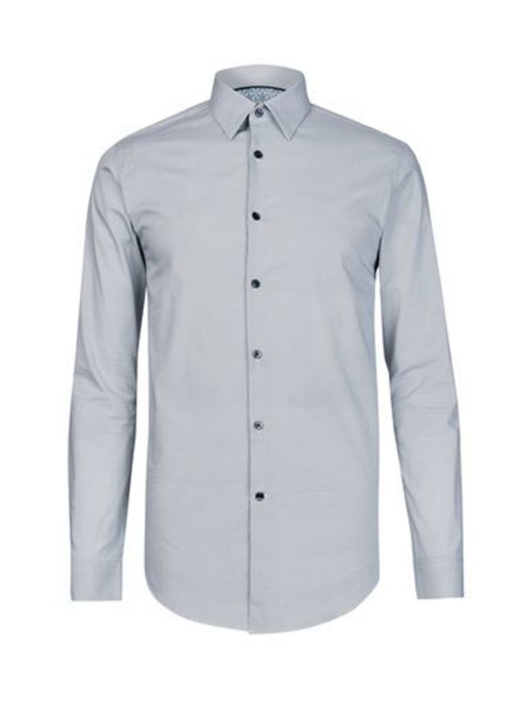 Mens White Slim Fit Mini Geometric Print Cotton Shirt, White