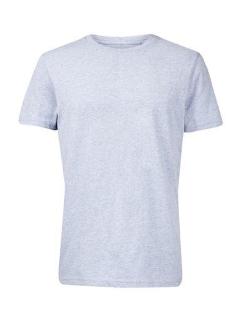 Mens Light Blue Crew Neck T-Shirt, Blue