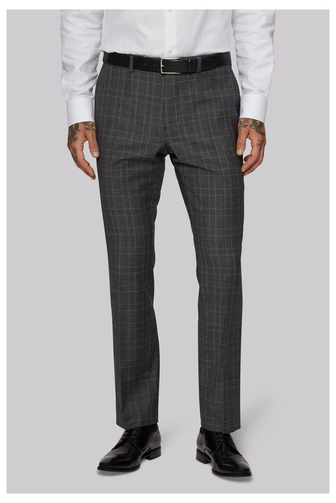 Moss 1851 Tailored Fit Grey with Lilac Check Trousers