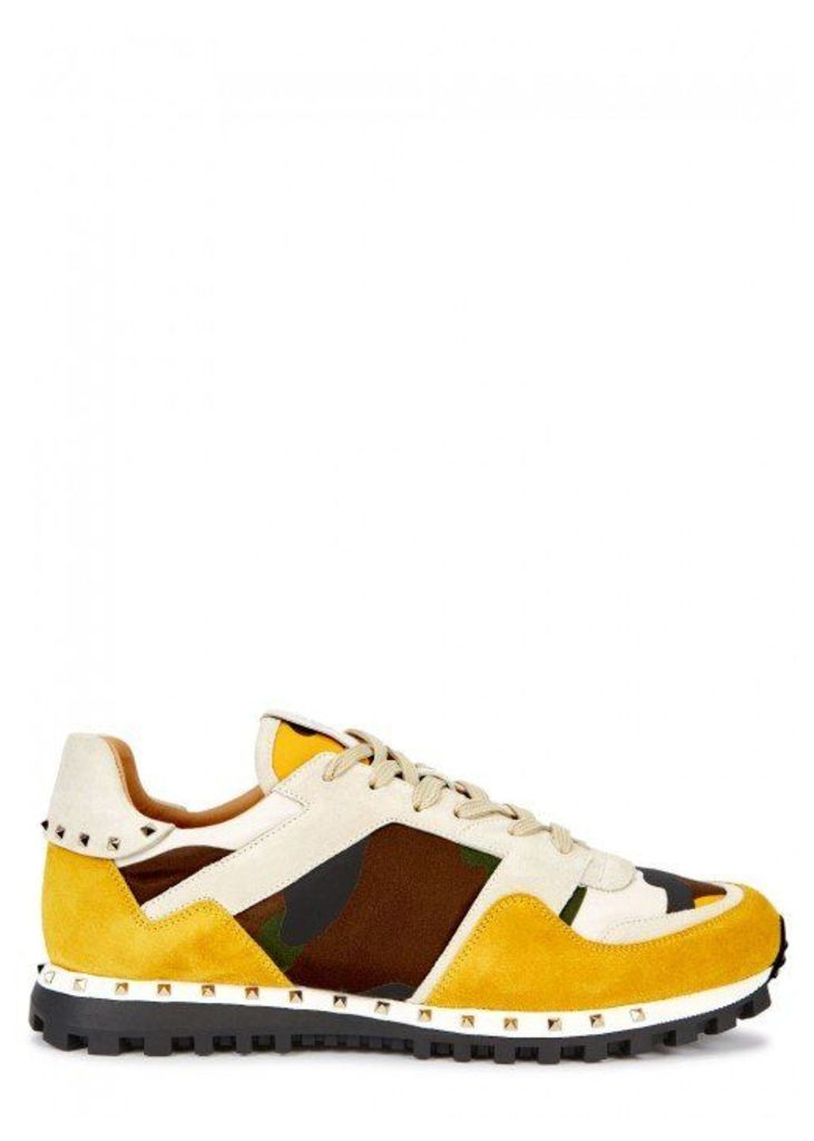 Valentino Camouflage Suede And Leather Trainers - Size 11