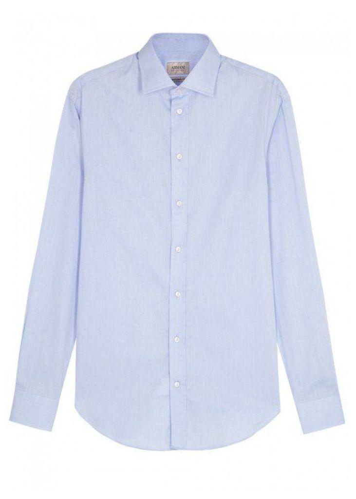 Armani Collezioni Blue Diamond-jacquard Cotton Shirt - Size 16