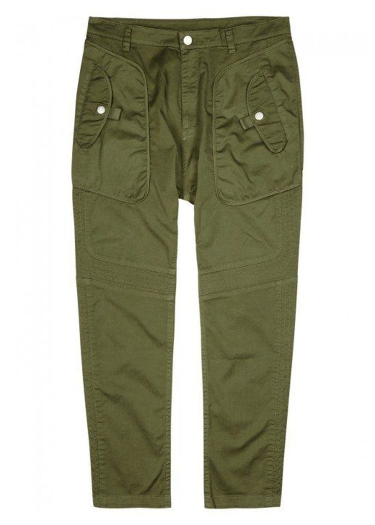 Helmut Lang Olive Stretch Cotton Trousers - Size W30
