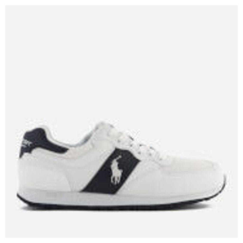 Polo Ralph Lauren Men's Slaton Pony Tech Leather/Tech Suede Trainers - White/Newport Navy - UK 11 - White/Navy