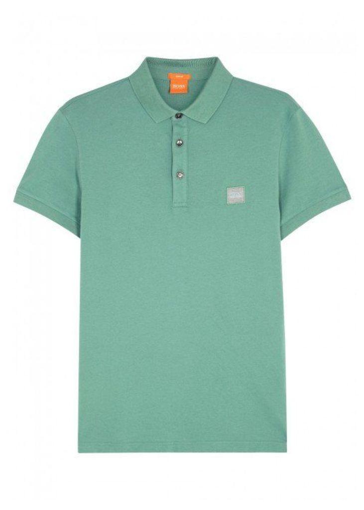 BOSS Orange Pavlik Green Piqué Cotton Polo Shirt - Size S
