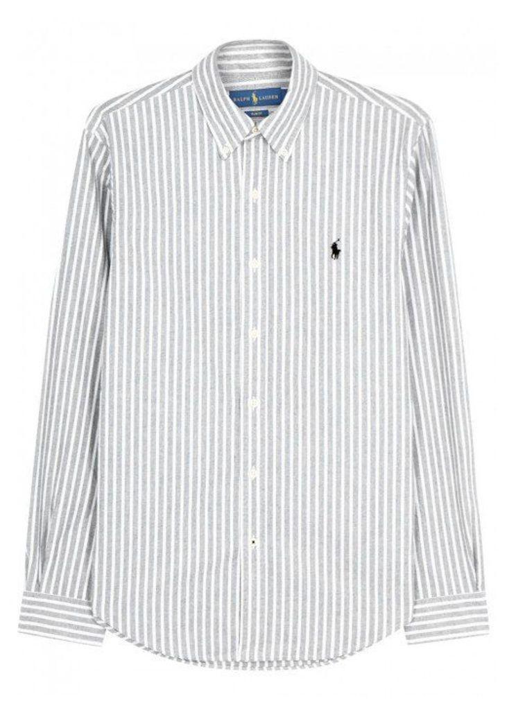Polo Ralph Lauren Grey Striped Slim Cotton Oxford Shirt - Size L