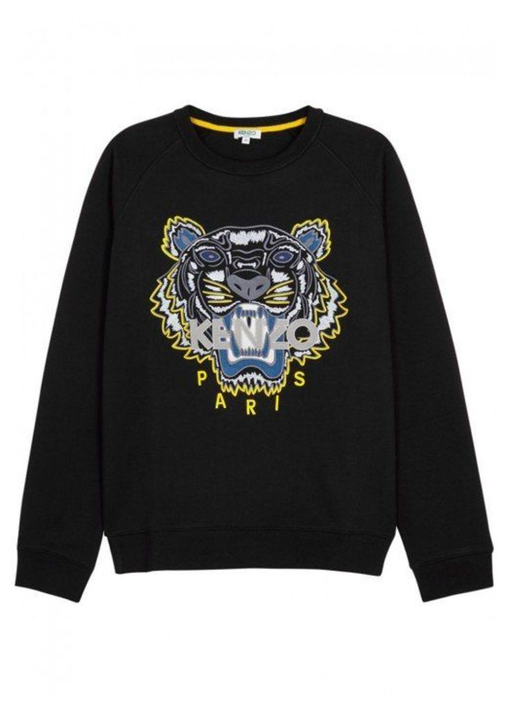 KENZO Black Tiger-embroidered Cotton Sweatshirt - Size L