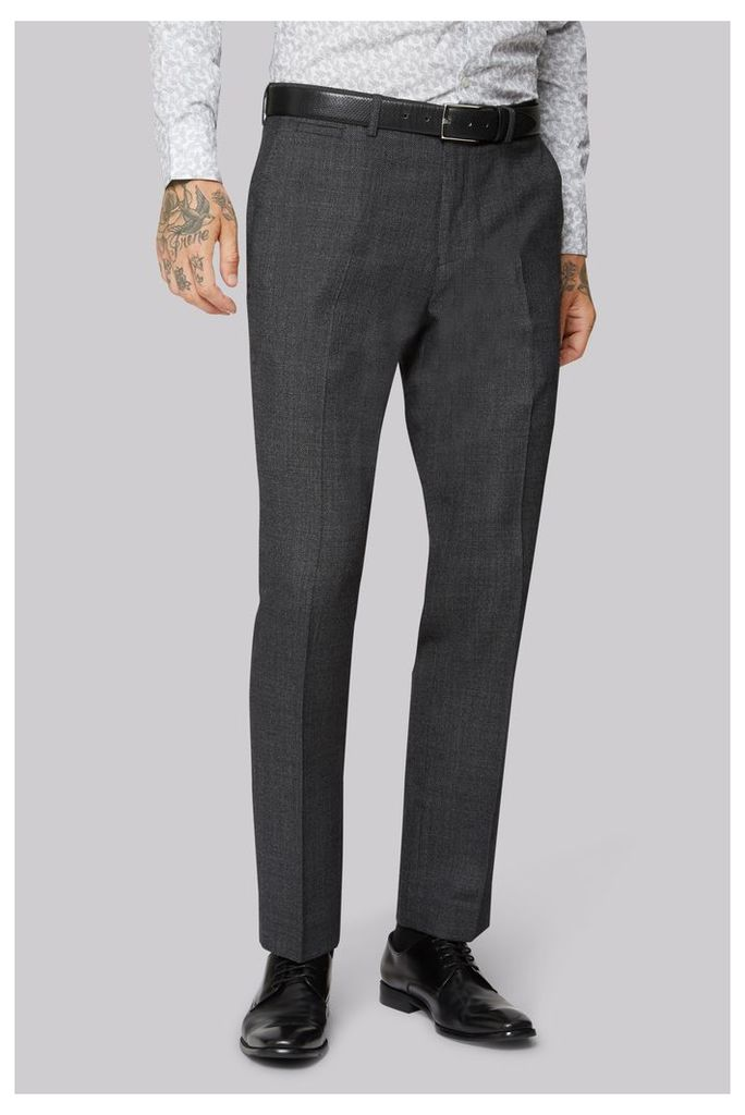 Moss 1851 Wool Rich Machine Washable Navy Semi Plain Trousers