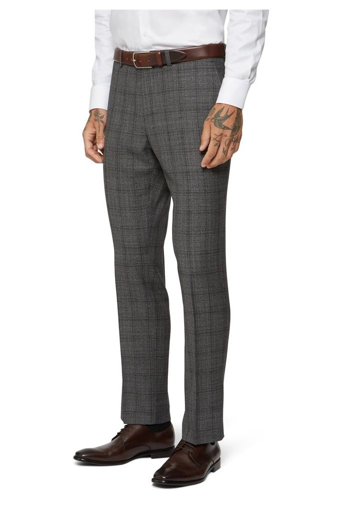 Moss 1851 Tailored Fit Grey Tan Jaspe Check Trouser