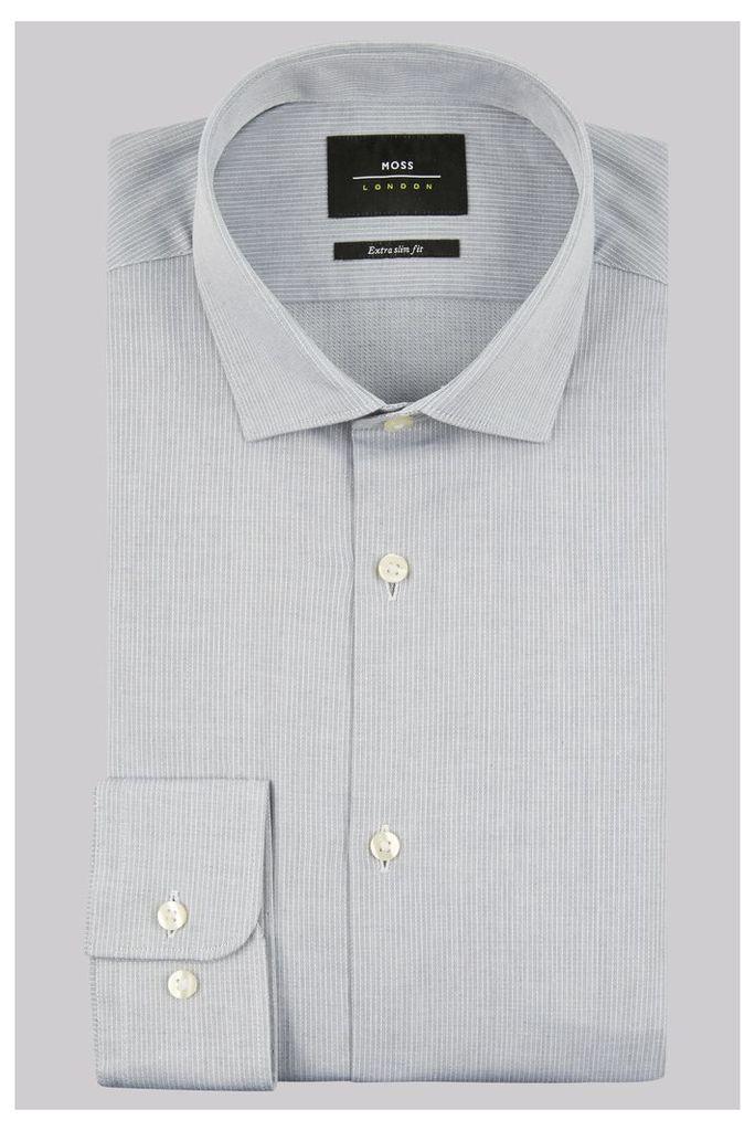 Moss London Premium Extra Slim Fit Grey Single Cuff Stripe Dobby Shirt