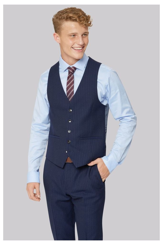 Moss London Skinny Fit Navy City Stripe Waistcoat