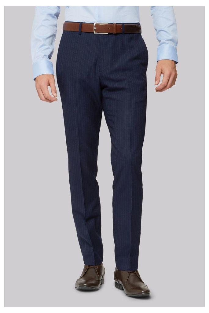 Moss London Skinny Fit Navy City Stripe Trouser