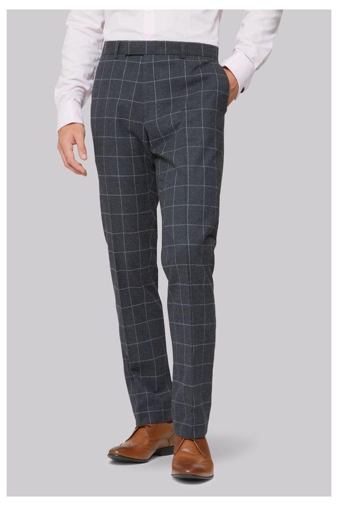 Moss London Skinny Fit Charcoal Windowpane Trousers