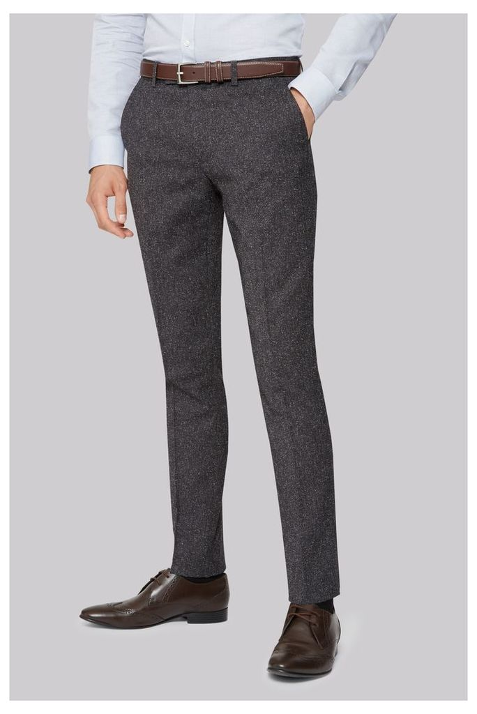 Moss London Skinny Fit Charcoal Texture Trouser