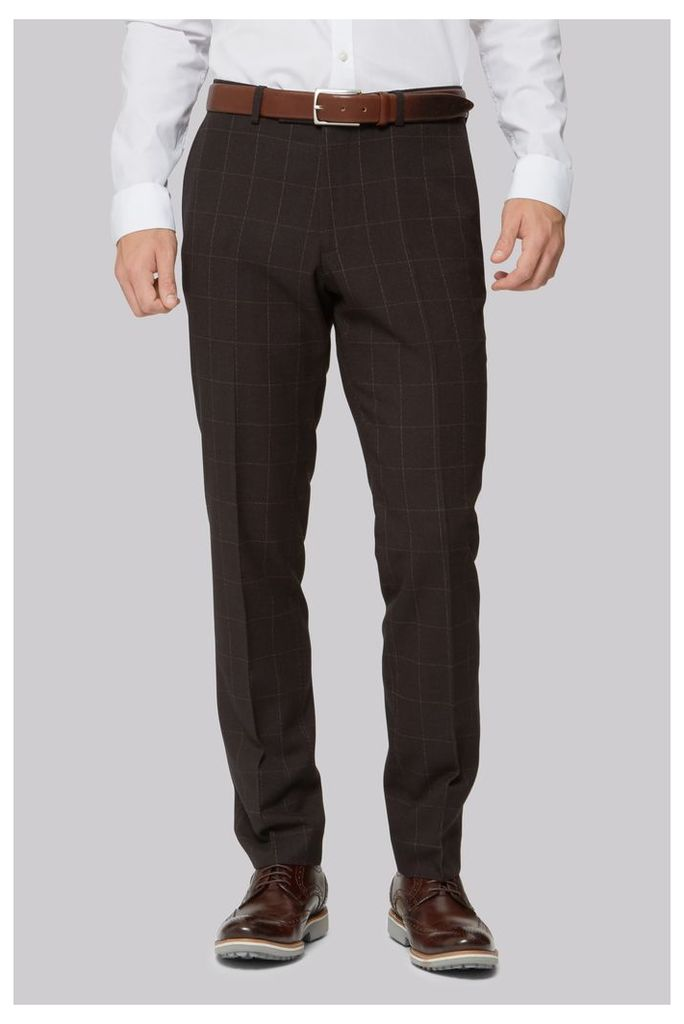 Moss London Skinny Fit Brown Overcheck Trousers