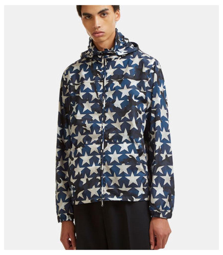 Star Print Hooded Zip-Up Jacket