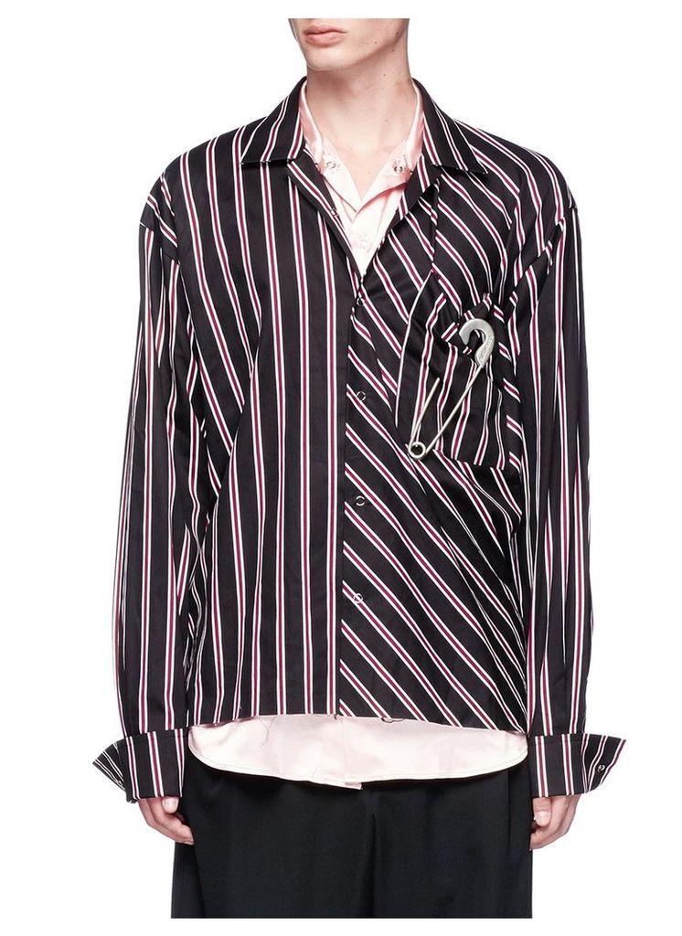 Satin underlay stripe shirt