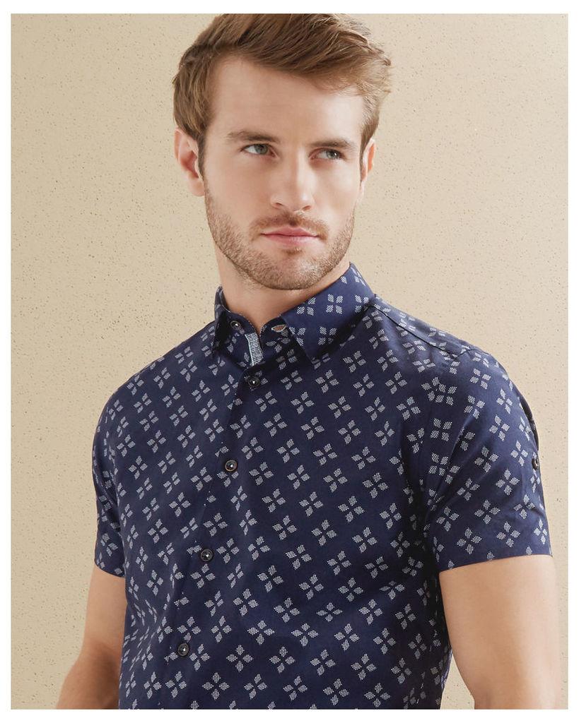 Ted Baker Geo print cotton shirt Navy