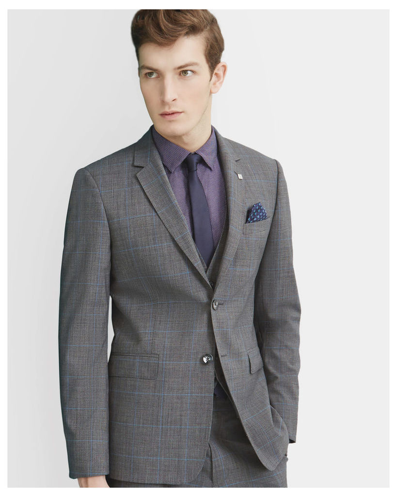 Ted Baker Prince of Wales checked wool jacket Grey