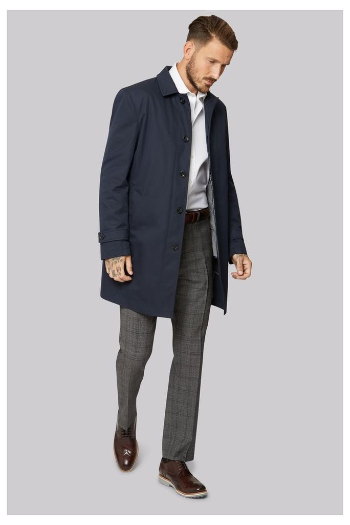 Moss 1851 Tailored Fit Navy Rainmac with Quilted insert.
