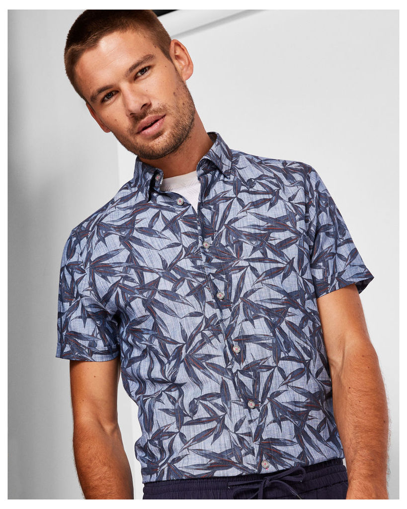 Ted Baker Leaf print linen and cotton-blend shirt Blue