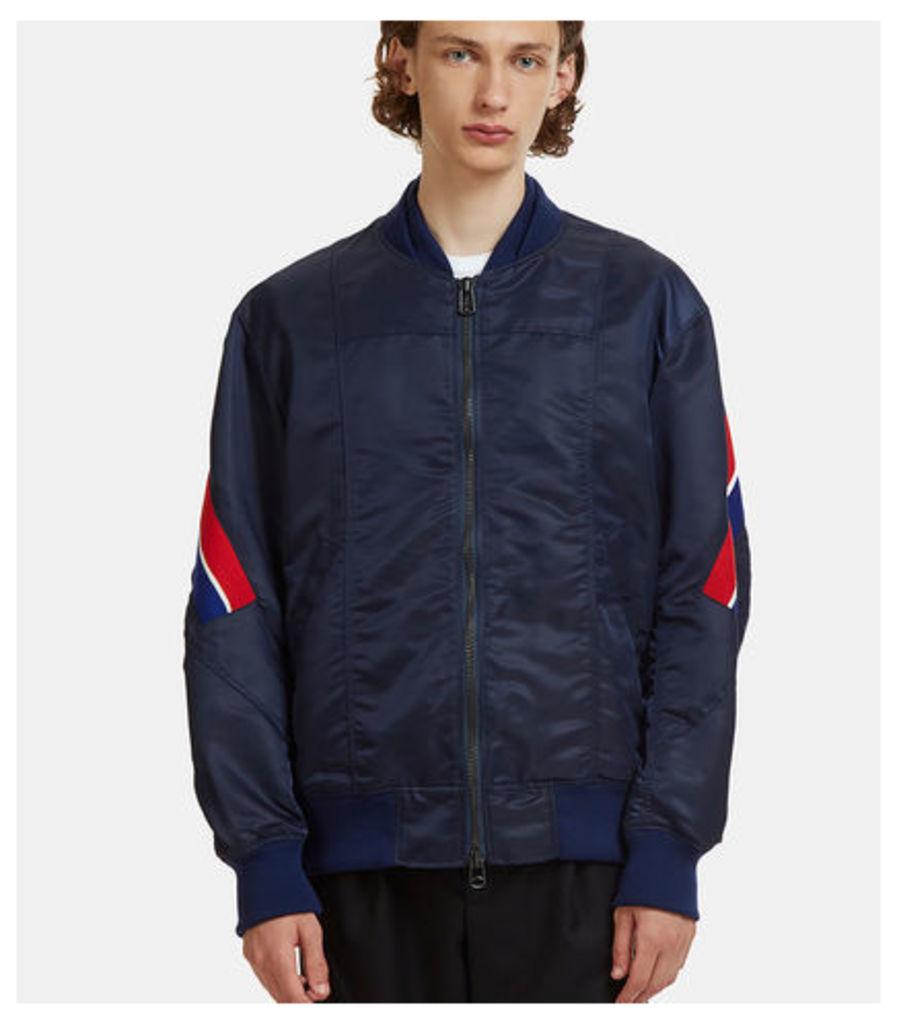 Diagonal Striped Rib Bomber Jacket
