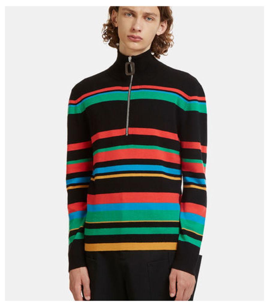 Striped Knit Polo Zipped Sweater