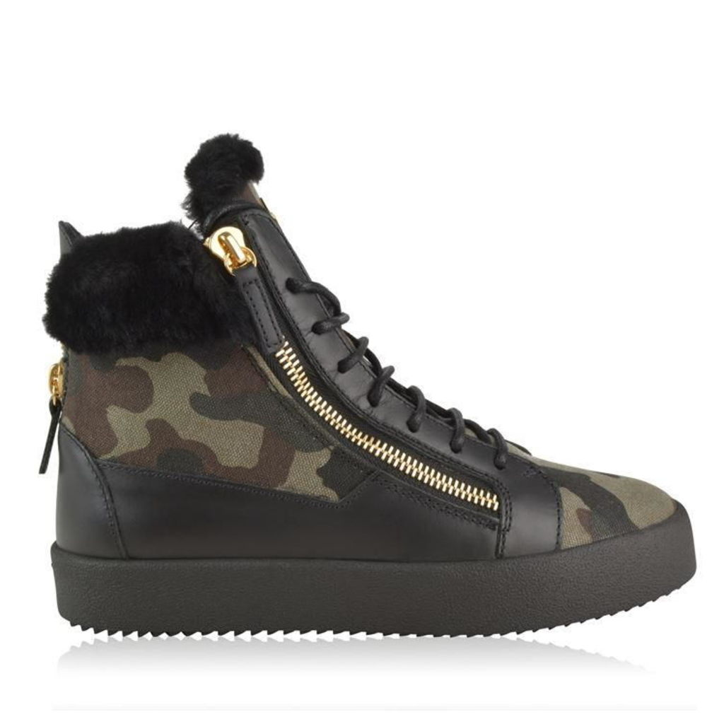 GIUSEPPE ZANOTTI Fur Trim Camo High Top Trainers