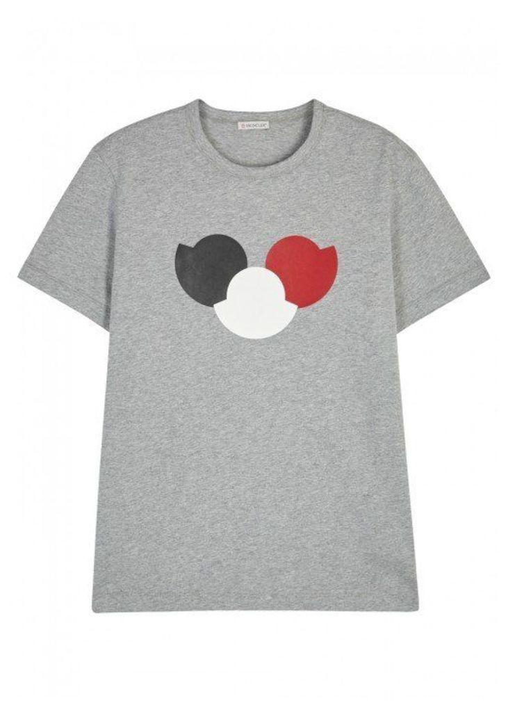 Moncler Grey Logo-print Cotton T-shirt - Size XL