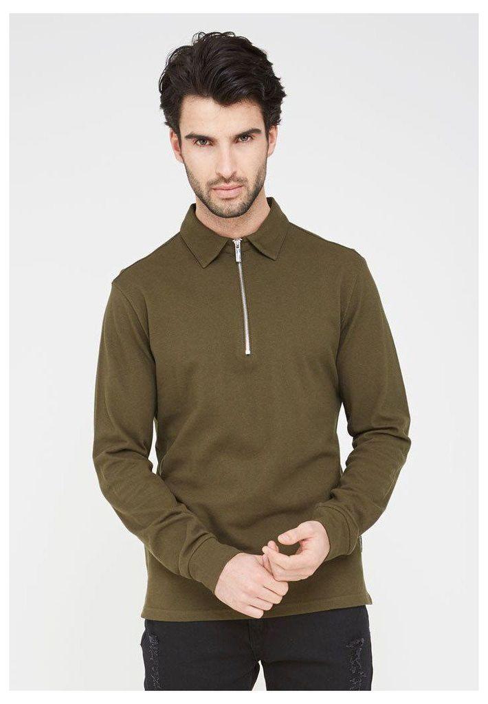 Long Sleeve Polo Top - Khaki