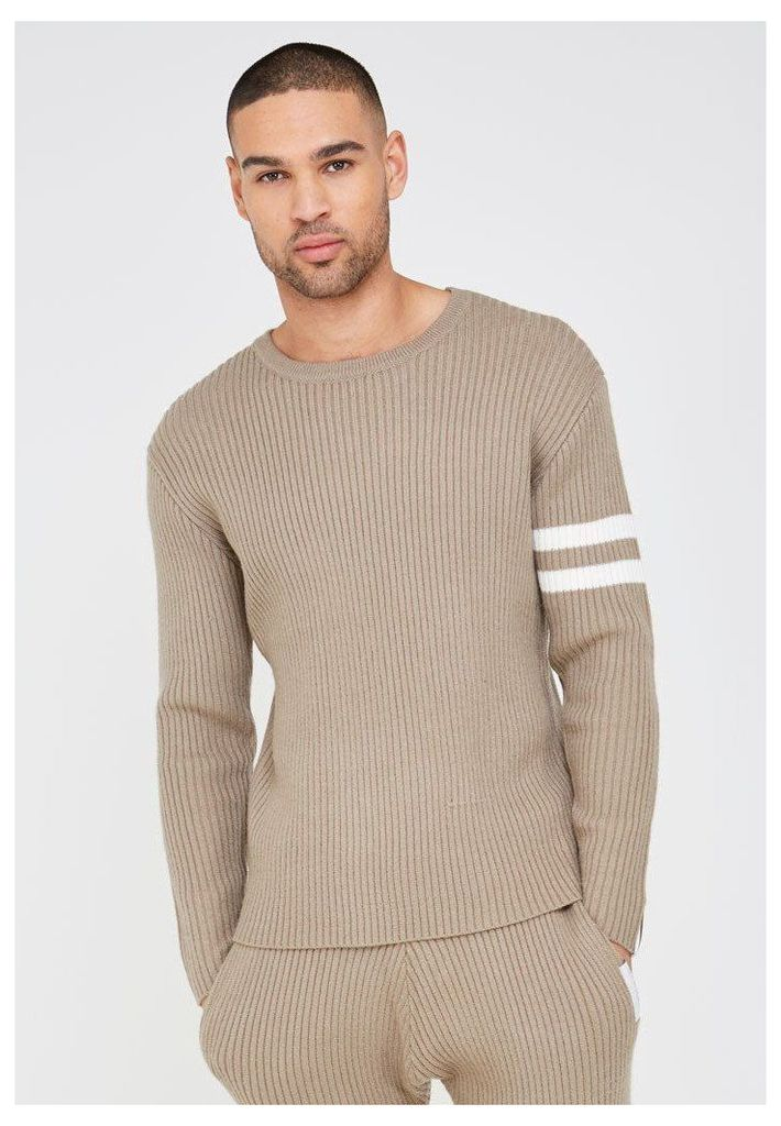 Ribbed Knitted Jumper - Beige
