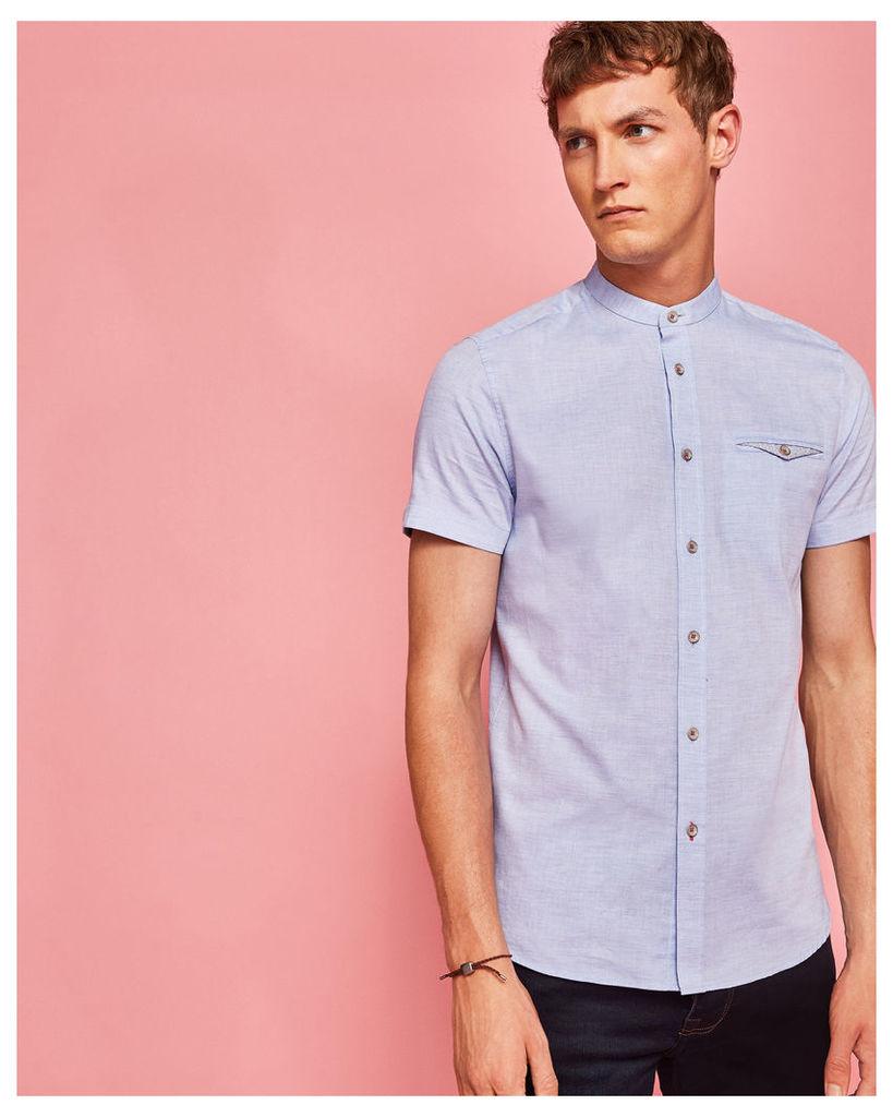 Ted Baker Granddad collared cotton shirt Blue