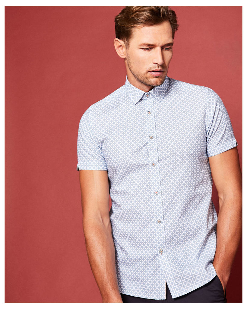 Ted Baker Geo print cotton shirt Blue