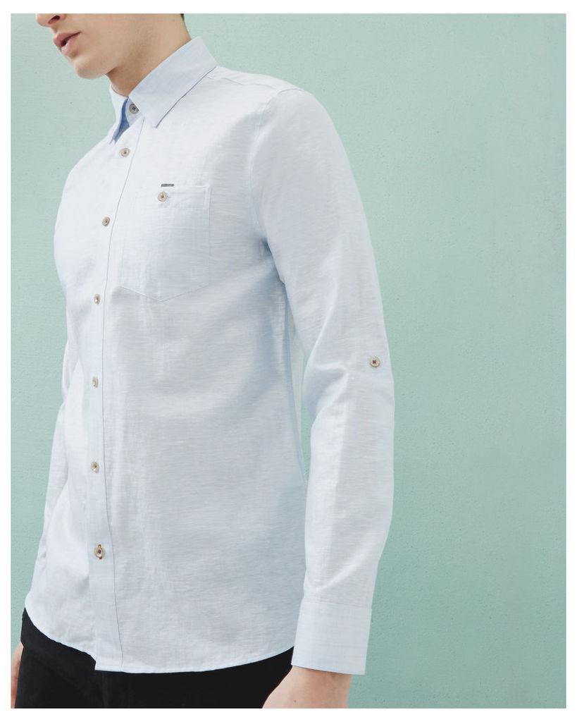 Ted Baker Linen and cotton-blend shirt Light Blue