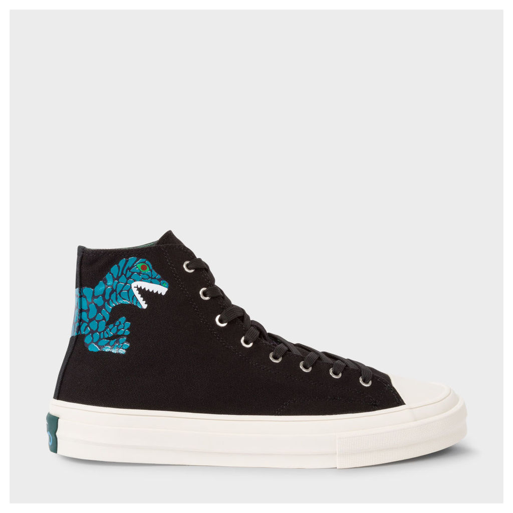 Men's Black Canvas 'Kirk' Trainers With 'Dino' Print