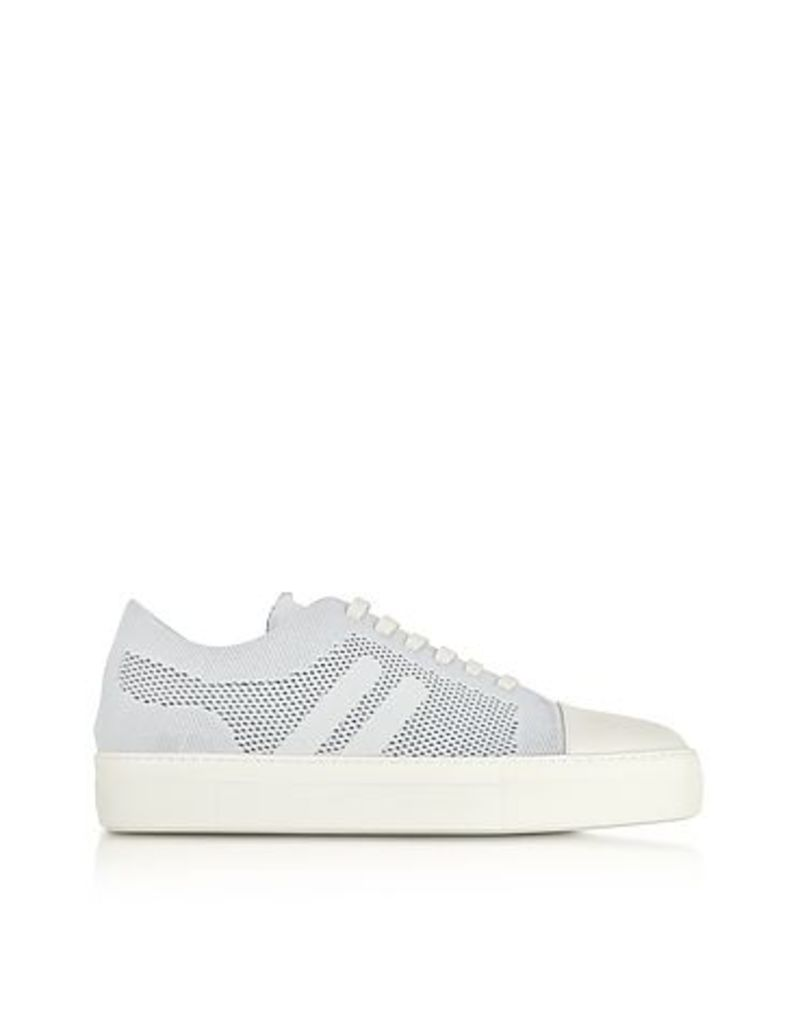 Neil Barrett - Off White Perforated Fabric and Nappa Leather Skateboard Sneakers