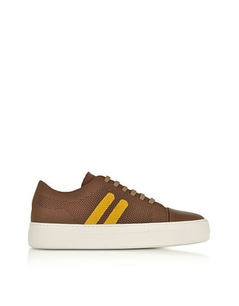 Neil Barrett - Cognac/Buttercup Perforated Fabric and Nappa Leather Skateboard Sneakers